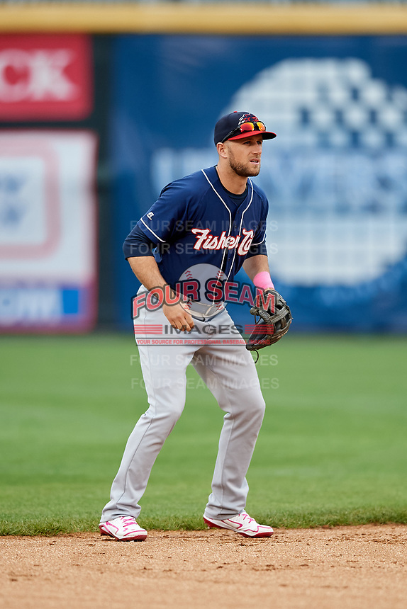 New Hampshire Fisher Cats shortstop Gunnar Heidt (4) during the second game of a doubleheader against the Harrisburg Senators on May 13, 2018 at FNB Field in Harrisburg, Pennsylvania.  Harrisburg defeated New Hampshire 2-1.  (Mike Janes/Four Seam Images)