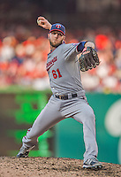 8 June 2013: Minnesota Twins pitcher Jared Burton on the mound against the Washington Nationals at Nationals Park in Washington, DC. The Twins edged out the Nationals 4-3 in 11 innings. Mandatory Credit: Ed Wolfstein Photo *** RAW (NEF) Image File Available ***