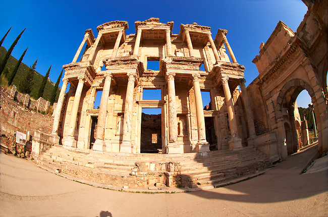 Picture & Photo of The library of Celsus at sunrise . Images of the Roman ruins of Ephasus, Turkey. Stock Picture & Photo art prints