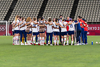 KASHIMA, JAPAN - AUGUST 2: The USWNT huddles after a game between Canada and USWNT at Kashima Soccer Stadium on August 2, 2021 in Kashima, Japan.