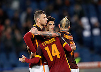 Calcio, Serie A:  Roma vs Palermo. Roma, stadio Olimpico, 21 febbraio 2016. <br /> Roma's Edin Dzeko, left, celebrates with teammates after scoring his second goal during the Italian Serie A football match between Roma and Palermo at Rome's Olympic stadium, 21 February 2016.<br /> UPDATE IMAGES PRESS/Riccardo De Luca