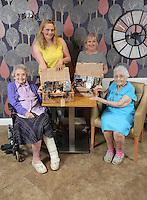 L-RSylvia Williams, Liz Stickler from Tesco, Debby Roose, care home manager, Constance Skinner