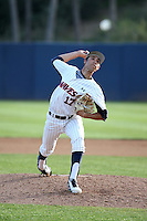Max Gamboa (17) of the Pepperdine Waves pitches against the Texas A&M Aggies at Eddy D. Field Stadium on February 26, 2016 in Malibu, California. Pepperdine defeated Texas A&M, 7-5. (Larry Goren/Four Seam Images)