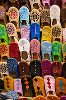 Marrakesh, Morocco.  Leather Sandals and Shoes for Sale in the Souk.