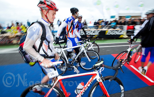 17 SEP 2011 - LA BAULE, FRA - Matt Sharp (Mulhouse Olympique Tri) enters transition with his team mates to rack his bike ahead of the final round of the men's French Grand Prix Series at the Triathlon Audencia in La Baule, France (PHOTO (C) NIGEL FARROW)