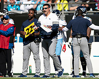 CHARLOTTE, NC - NOVEMBER 3: head coach Mike Vrabel of the Tennessee Titans during a game between Tennessee Titans and Carolina Panthers at Bank of America Stadium on November 3, 2019 in Charlotte, North Carolina.
