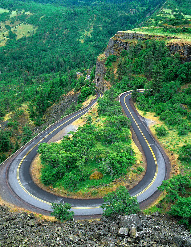Hwy 30 near Rowena. Columbia River Gorge National Scenic Area. Oregon