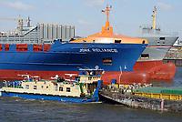 Schubschiff und Feeder auf der Norderelbe: EUROPA, DEUTSCHLAND, HAMBURG, (EUROPE, GERMANY), 25.03.2013 Schubschiff und Feeder auf der Norderelbe