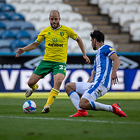 12th September 2020 The John Smiths Stadium, Huddersfield, Yorkshire, England; English Championship Football, Huddersfield Town versus Norwich City;  Teemu Pukki of Norwich City plays the pass to team mate Idah that leads to the only goal of the game for Norwich in 80th minute