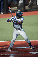 Kyle Battle (16) of the Old Dominion Monarchs at bat against the Charlotte 49ers at Hayes Stadium on April 23, 2021 in Charlotte, North Carolina. (Brian Westerholt/Four Seam Images)