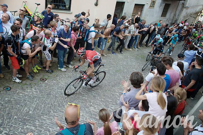 Maxime Monfort (BEL/Lotto-Soudal) on the last ascent of the very steep (20%) cobbled Via Principi d'Acaja<br /> <br /> stage 18: Muggio - Pinerolo (240km)<br /> 99th Giro d'Italia 2016