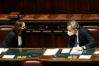 The Minister of Internal Affairs Luciana Lamorgese and Italian Prime Minister Mario Draghi at the Chamber of Deputies during the discussion and vote of confidence in the new Government. Rome (Italy), February 18th 2021<br /> Photo Samantha Zucchi Insidefoto