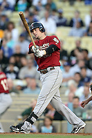 Houston Astros third baseman Chris Johnson #23 bats against the Los Angeles Dodgers at Dodger Stadium on June 18, 2011 in Los Angeles,California. (Larry Goren/Four Seam Images)