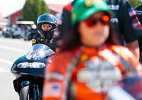 Sep 15, 2019; Mohnton, PA, USA; NHRA pro stock motorcycle rider Jianna Salinas (left) and Angelle Sampey during the Reading Nationals at Maple Grove Raceway. Mandatory Credit: Mark J. Rebilas-USA TODAY Sports