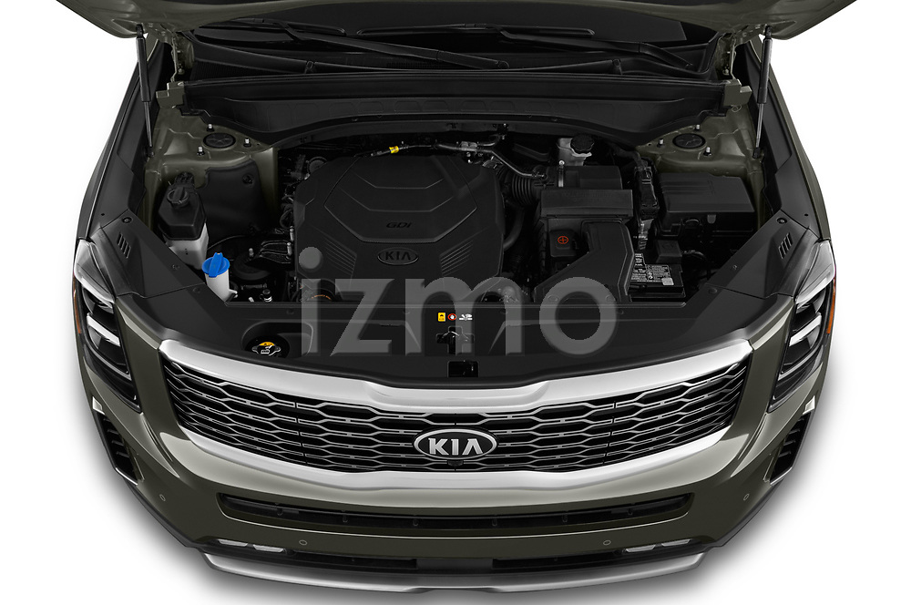 Car stock 2020 KIA Telluride SX 5 Door SUV engine high angle detail view