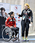 MONTREAL, QC - APRIL 29:  Catherine Gosselin Despres introduces Cindy Ouellet during the 2017 Montreal Paralympian Search at Complexe sportif Claude-Robillard. Photo: Minas Panagiotakis/Canadian Paralympic Committee