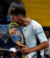 BOGOTA-COLOMBIA, 07-03-2020: Juan Ignacio Londero de Argentina, celebra el punto ganado a Daniel Galan de Colombia, durante partidos de los enfrentamientos para Las clasificatorias Copa Davis by Rakuten 2020 entre Colombia y Argentina en el Palacio de los Deportes en la ciudad de Bogota. / Juan Ignacio Londero of Argentina, celebrates the winer point to Daniel Galan of Colombia,  during matches of the clashes for the Davis Cup by Rakuten 2020 qualifiers between Colombia and Argentina at the Palacio de los Deportes in Bogota city. / Photo: VizzorImage / Luis Ramirez / Staff.