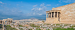 """The ancient Greek temple of Erechtheion and the famous """"Porch of the Maidens"""", with draped female figures (caryatids) on the north side of the Acropolis, Athens Greece."""