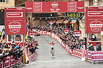 Tiesj Benoot (BEL) Lotto Soudal takes a solo victory of the 2018 Strade Bianche Men Elite NamedSport race running 184km from Siena to Siena, Tuscany, Italy. 3rd March 2018.<br /> Picture: LaPresse/Massimo Paolone | Cyclefile<br /> <br /> <br /> All photos usage must carry mandatory copyright credit (© Cyclefile | LaPresse/Massimo Paolone)