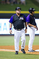 Winston-Salem Dash manager Tommy Thompson (39) coaches third base during the Carolina League game against the Lynchburg Hillcats at BB&T Ballpark on August 13, 2014 in Winston-Salem, North Carolina.  The Hillcats defeated the Dash 4-3.   (Brian Westerholt/Four Seam Images)