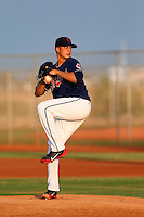 Juan Santana #47 of the AZL Indians pitches against the AZL Giants at the Cleveland Indians Training Complex on July 11, 2013 in Goodyear, Arizona. AZL Giants defeated the AZL Indians, 19-3. (Larry Goren/Four Seam Images)