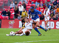 Aubrey Baker (3) of Maryland fights for the ball with Kim DeCesare (19) of Duke at Ludwig Field on the campus of the University of Maryland in College Park, MD. DC. Duke defeated Maryland, 2-1.