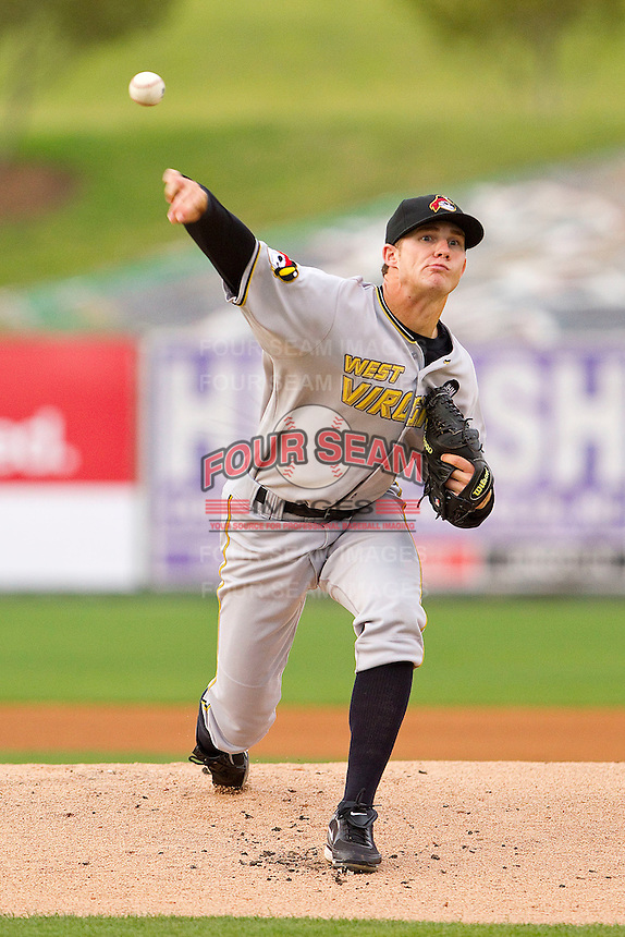 Starting pitcher Tyler Waldron #25 of the West Virginia Power in action against the Kannapolis Intimidators at Fieldcrest Cannon Stadium on April 21, 2011 in Kannapolis, North Carolina.   Photo by Brian Westerholt / Four Seam Images