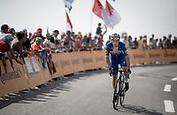 Elia Viviani (ITA/Deceuninck-QuickStep) up the Tourmalet (HC/2115m/19km @7.4%)<br /> <br /> Stage 14: Tarbes to Tourmalet(117km)<br /> 106th Tour de France 2019 (2.UWT)<br /> <br /> ©kramon