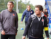 Assistant coach Jahir Shehi of Woluwe and physiotherapist Nils De Vos pictured before  a female soccer game between Standard Femina de Liege and White Star Woluwe on the fifth matchday of the 2021 - 2022 season of Belgian Scooore Womens Super League , saturday 2 nd of October 2021  in Angleur , Belgium . PHOTO SPORTPIX   SEVIL OKTEM