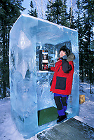 Kris Capps, ice phone booth, World Ice Art Championships held each march in Fairbanks, Alaska,