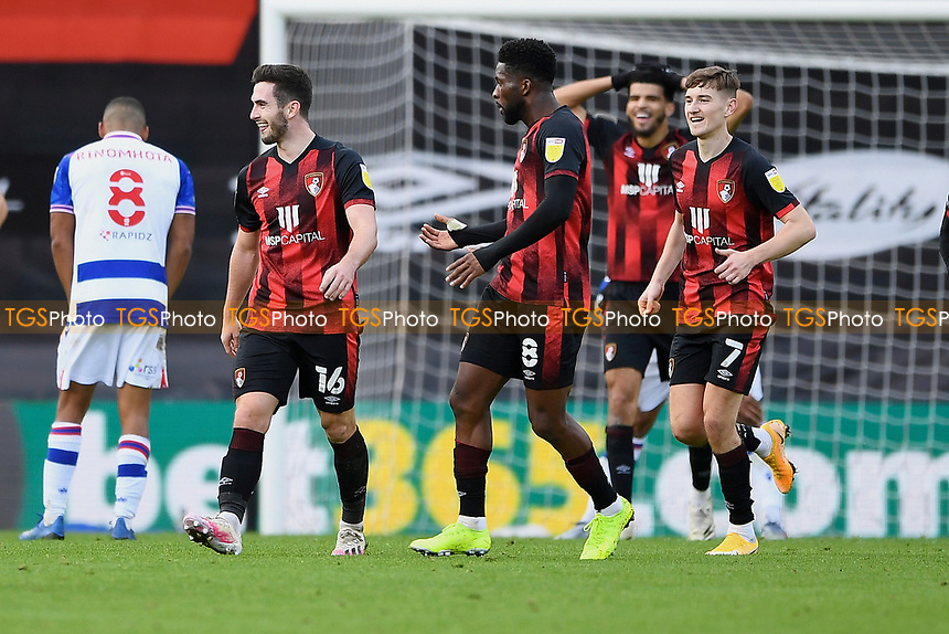 Lewis Cook of AFC Bournemouth (16) celebrates scoring the third goal to make the score 3-2 during AFC Bournemouth vs Reading, Sky Bet EFL Championship Football at the Vitality Stadium on 21st November 2020