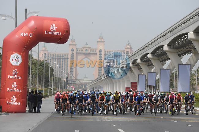 Km0 the start of Stage 4 of the 2019 UAE Tour, running 197km form The Pointe Palm Jumeirah to Hatta Dam, Dubai, United Arab Emirates. 26th February 2019.<br /> Picture: LaPresse/Fabio Ferrari | Cyclefile<br /> <br /> <br /> All photos usage must carry mandatory copyright credit (© Cyclefile | LaPresse/Fabio Ferrari)