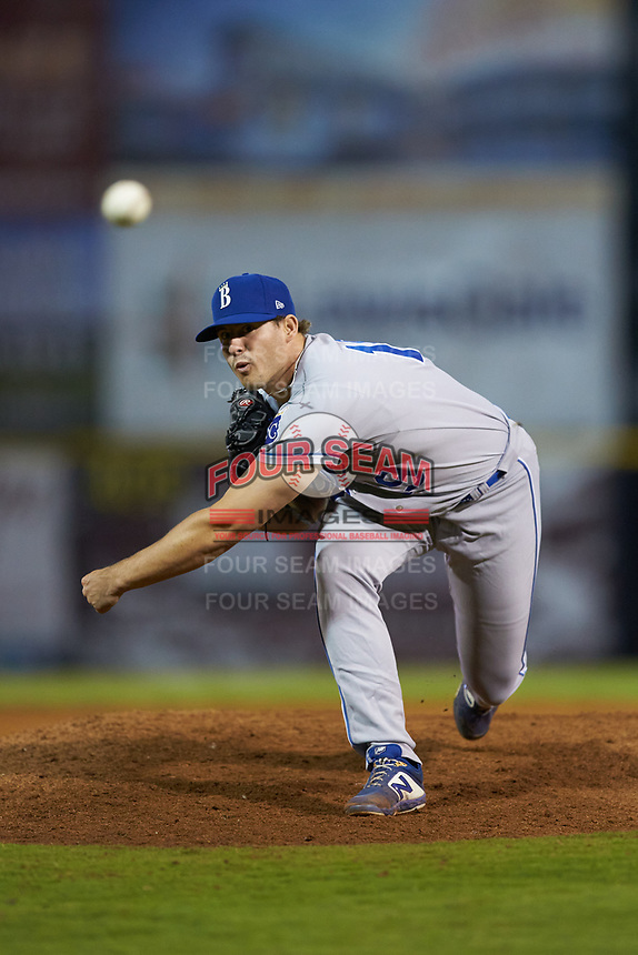 Burlington Royals relief pitcher Patrick Smith (19) delivers a pitch to the plate against the Pulaski Yankees at Calfee Park on September 1, 2019 in Pulaski, Virginia. The Royals defeated the Yankees 5-4 in 17 innings. (Brian Westerholt/Four Seam Images)