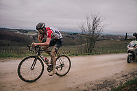 """Tiesj Benoot (BEL/Lotto-Soudal) with a last refuel before catching the race leaders (just 20"""" ahead of him)<br /> <br /> 12th Strade Bianche 2018<br /> Siena > Siena: 184km (ITALY)"""
