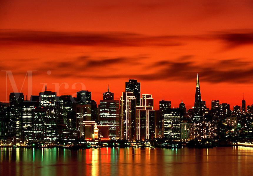 Skyline at sunset San Francisco California USA