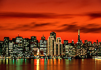 Skyline at sunset San Francisco California USA