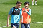 Getafe CF's Sofian Chakla (l) and Take Kubo during training session. February 17, 2021.(ALTERPHOTOS/Acero)