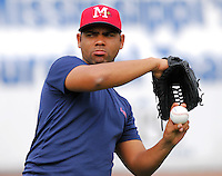 Atlanta Braves pitching prospect Francisley Bueno of the Mississippi Braves, the Atlanta Braves' Class AA affiliate of the Southern League, prior to a game April 24, 2007, against the Birmingham Barons at Trustmark Park in Pearl, Miss. Photo by:  Tom Priddy/Four Seam Images