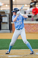 Colin Moran (18) of the North Carolina Tar Heels at bat against the Wake Forest Demon Deacons at Wake Forest Baseball Park on March 9, 2013 in Winston-Salem, North Carolina.  The Tar Heels defeated the Demon Deacons 20-6.  (Brian Westerholt/Four Seam Images)