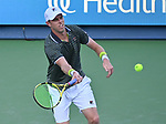 August 13,2019:   Sam Querrey (USA) loses to Novak Djokovic (SRB) 7-5, 6-1, at the Western & Southern Open being played at Lindner Family Tennis Center in Mason, Ohio.  ©Leslie Billman/Tennisclix/CSM