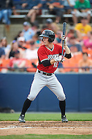 Carolina Mudcats center fielder Stephen Gaylor (12) squares to bunt during a game against the Frederick Keys on June 4, 2016 at Nymeo Field at Harry Grove Stadium in Frederick, Maryland.  Frederick defeated Carolina 5-4 in eleven innings.  (Mike Janes/Four Seam Images)