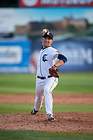 Connecticut Tigers relief pitcher Robbie Welhaf (31) delivers a pitch during a game against the Lowell Spinners on August 26, 2018 at Dodd Stadium in Norwich, Connecticut.  Connecticut defeated Lowell 11-3.  (Mike Janes/Four Seam Images)