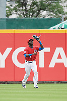 Buffalo Bisons center fielder Anthony Alford (7) catches a fly ball during a game against the Lehigh Valley IronPigs on June 23, 2018 at Coca-Cola Field in Buffalo, New York.  Lehigh Valley defeated Buffalo 4-1.  (Mike Janes/Four Seam Images)