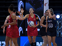 England's George Fisher celebrates a goal during the Cadbury Netball Series Taini Jamison Trophy match between New Zealand Silver Ferns and England Roses at Claudelands Arena in Hamilton, New Zealand on Wednesday, 28 October 2020. Photo: Dave Lintott / lintottphoto.co.nz