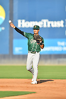 Greensboro Grasshoppers second baseman Nick Gonzales (2) throws to first base during a game against the Asheville Tourists on August 24, 2021 at McCormick Field in Asheville, NC. (Tony Farlow/Four Seam Images)