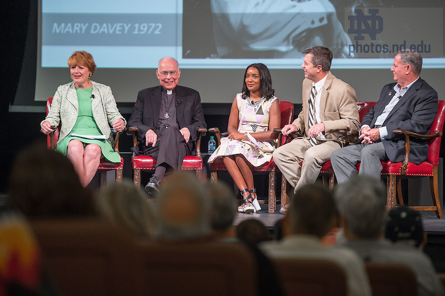 """June 5, 2015; Mary Davey, '72 shares her memories of Fr. Hesburgh at the """"Stories of Father Ted"""" panel discussion, Reunion 2015. (Photo by Matt Cashore/University of Notre Dame)"""