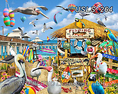 Lori, LANDSCAPES, LANDSCHAFTEN, PAISAJES, paintings+++++Pelican Paradise_4_72,USLS264,#l#, EVERYDAY ,puzzle,puzzles