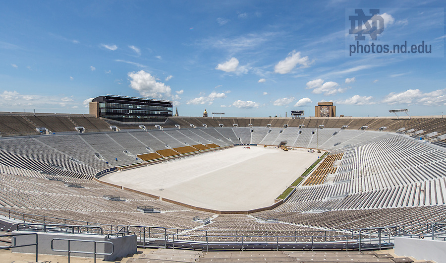 Jul. 1, 2014; Work in-progress on the conversion from natural grass to field turf in Notre Dame Stadium.<br /> <br /> Photo by Matt Cashore/University of Notre Dame