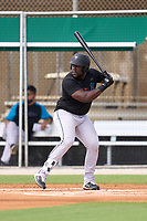 Miami Marlins Lazaro Alonso (91) bats during a Minor League Spring Training camp day on April 27, 2021 at Roger Dean Chevrolet Stadium Complex in Jupiter, Fla.  (Mike Janes/Four Seam Images)