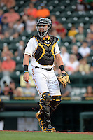 Bradenton Marauders catcher Reese McGuire (7) during a game against the Jupiter Hammerheads on April 18, 2015 at McKechnie Field in Bradenton, Florida.  Bradenton defeated Jupiter 4-1.  (Mike Janes/Four Seam Images)